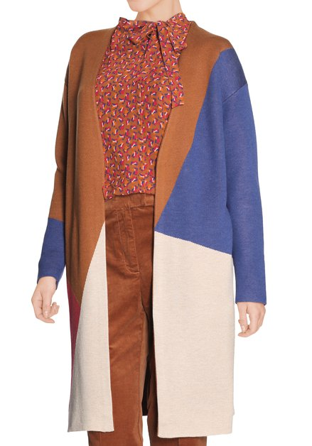 Zandbruine open cardigan - color blocking