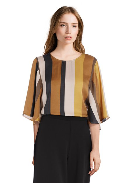 Zijdeachtige blouse met goudkleurige strepen