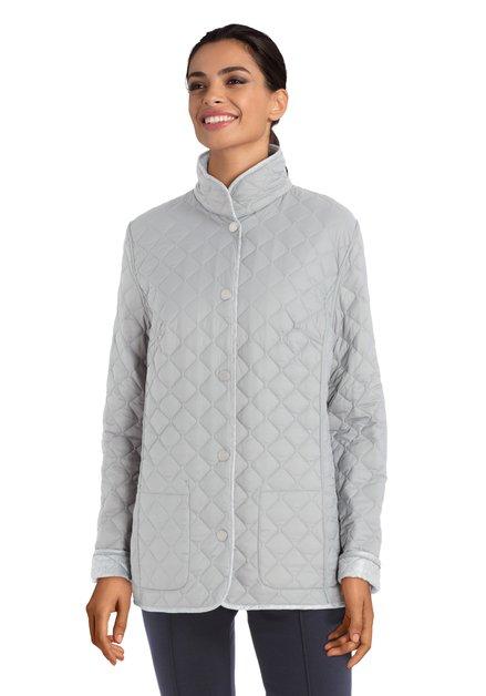 Zilver/taupe omkeerbare gematelasseerde jas