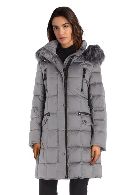 Zilverkleurige gewatteerde jas met afneembare kap