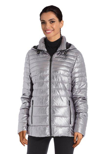 Zilverkleurige gewatteerde jas zonder dons