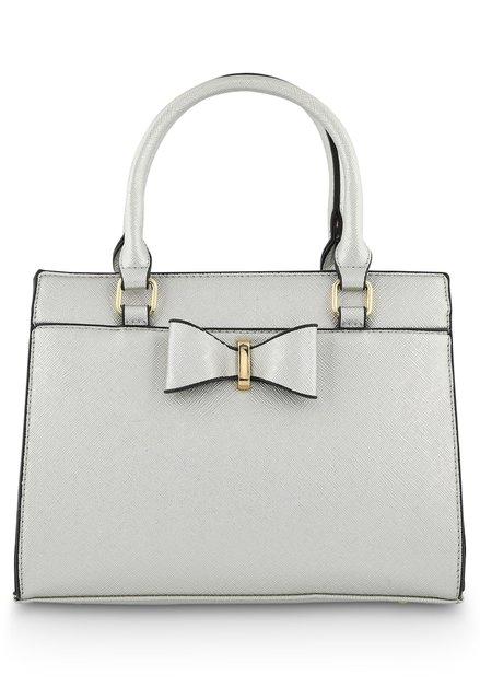 Zilverkleurige handtas in kunstleder met strik