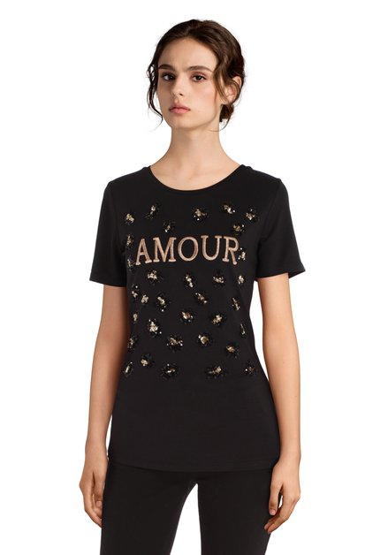 Zwart 'amour' T-shirt met pailletten