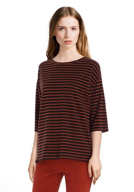 Zwart-bruin gestreept T-shirt met 3/4 mouwen