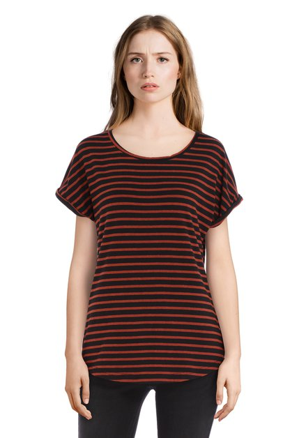 Zwart en bruin gestreept T-shirt met omslagboord