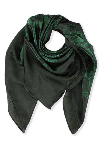 Zwart en donkergroene foulard met snakeprint