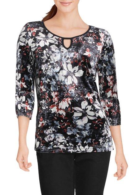 Zwart fluwelen T-shirt met bloemen