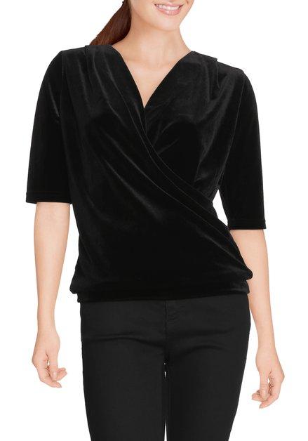Zwart fluwelen T-shirt met v-hals