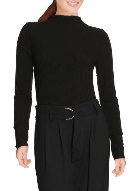 Zwart geribd T-shirt met goudkleurige knopjes
