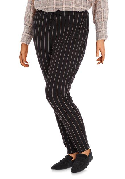 Zwart gestreepte broek met trekkoordje - slim fit