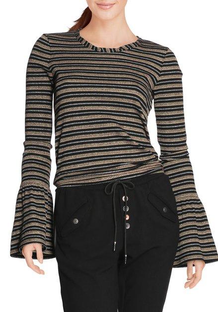 Zwart-goud gestreept T-shirt met lurex