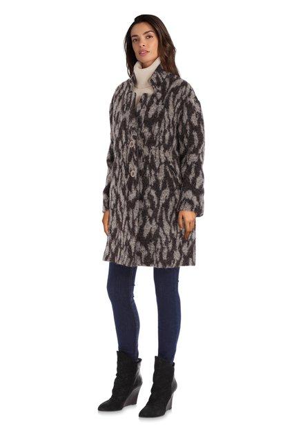 Zwart-grijze mantel met wol en alpaca