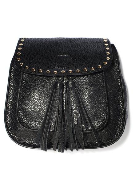 Zwart handtasje met goudkleurige details