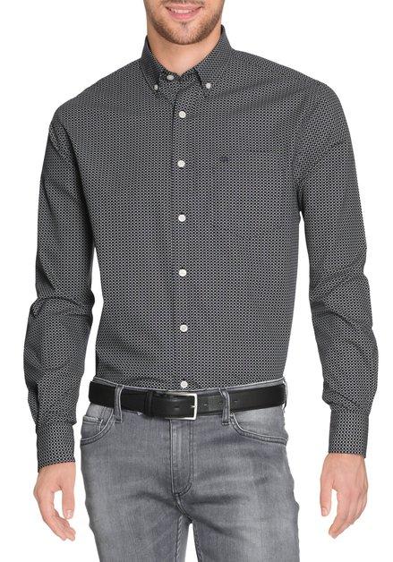 Zwart hemd met ecru blokjes - comfort fit