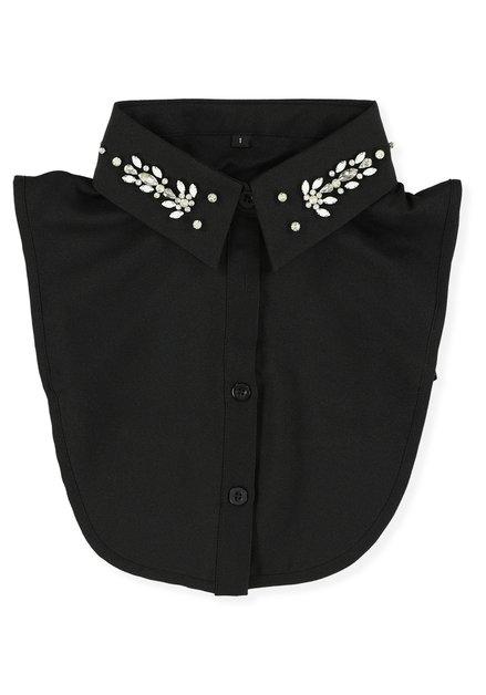 Zwart hemdkraagje met parels