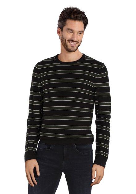 Zwart-kaki gestreepte trui met ronde hals