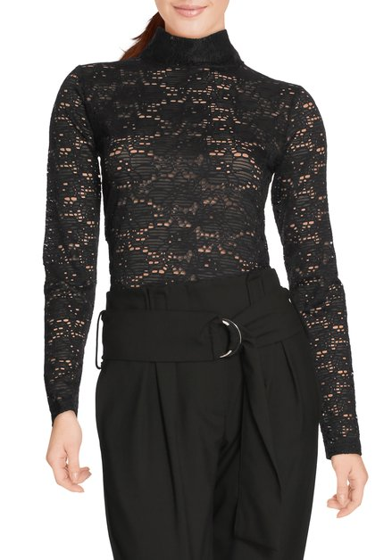 Zwart kanten T-shirt met opstaande kraag