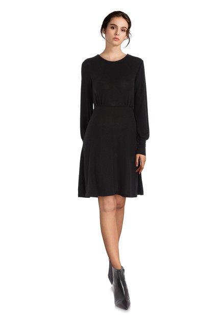 Zwart kleed in stretchstof met lurex