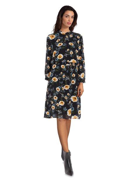 Zwart kleed met gele bloemen en elastische taille