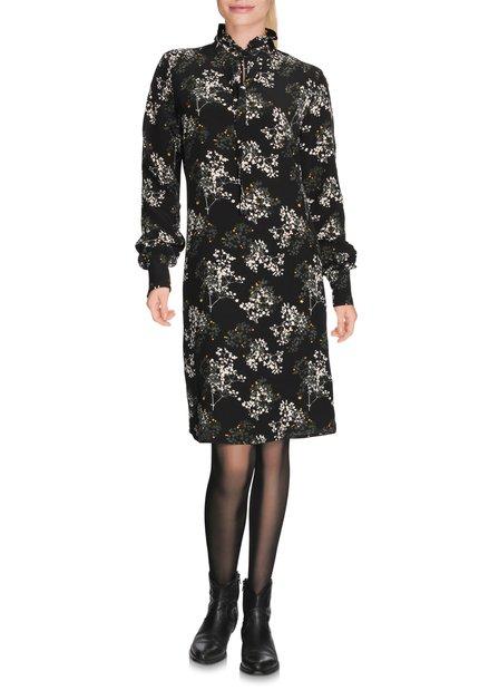 Zwart kleed met gestileerde bloemenprint