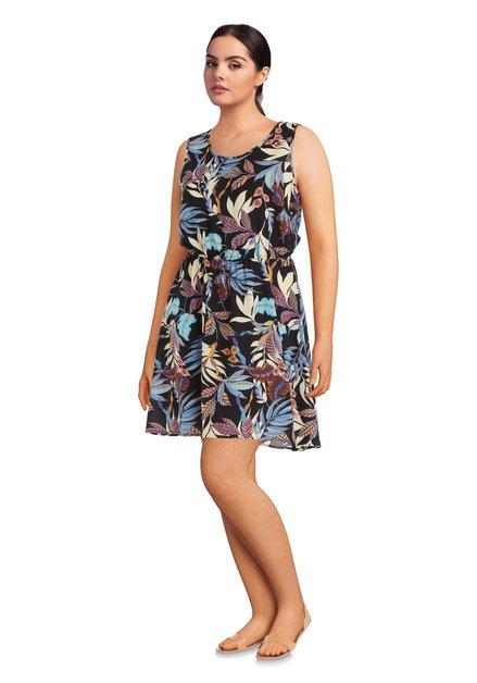 Zwart kleed met kleurrijke tropische print
