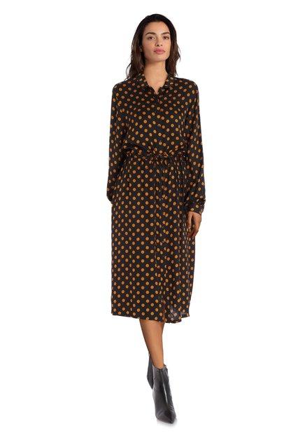 Zwart kleed met okerkleurige stippen en zijdelook