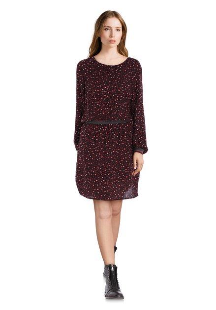 Zwart kleed met rode print en elastische taille