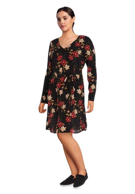 Zwart kleed met taillelint en rode bloemenprint
