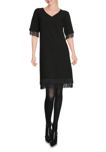 Zwart kleed met v-hals en franjes