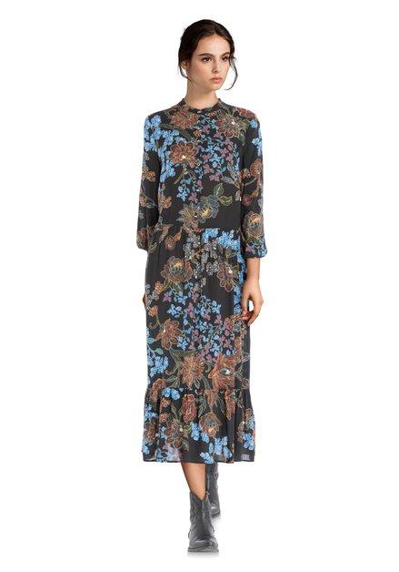 Zwart lang kleed met bloemenprint