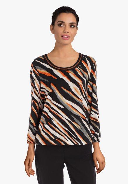 Zwart-oranje gestreept T-shirt