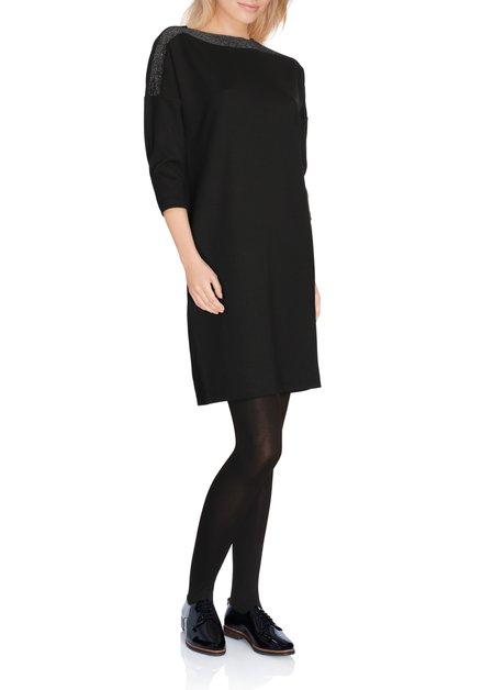 Zwart, recht kleed met bronskleurige lurex