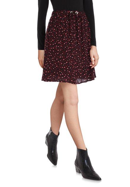 Zwart rokje met rode print en elastische taille