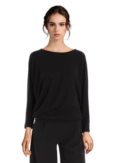 Zwart T-shirt in stretchstof met lurex