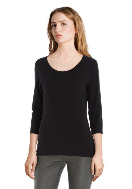 Zwart T-shirt met 3/4 mouwen