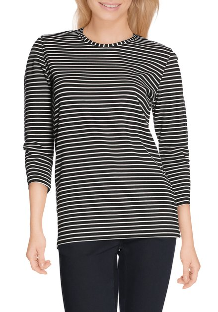 Zwart T-shirt met ecru strepen