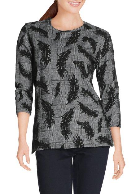 Zwart T-shirt met fijne ruiten en bladerprint