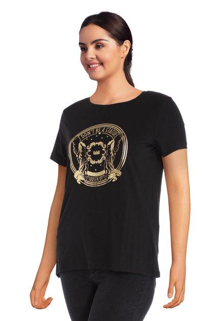 Zwart T-shirt met goudkleurige print