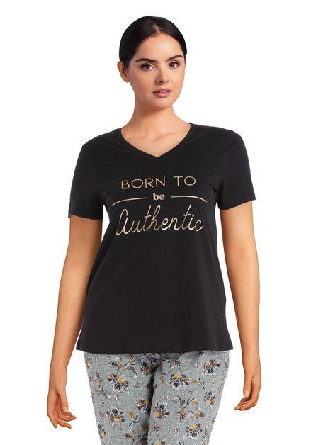 Zwart T-shirt met goudkleurige tekst