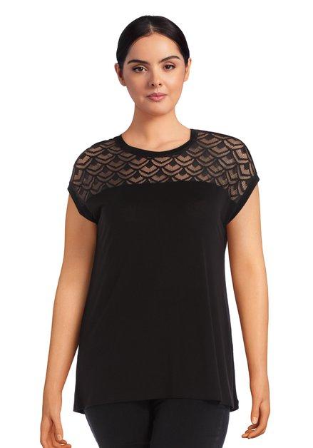 Zwart T-shirt met halslijn in kant