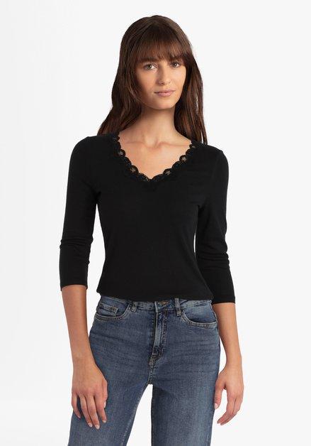 Zwart T-shirt met kant