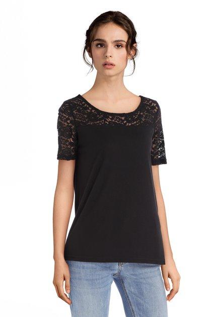 Zwart T-shirt met kanten schouders