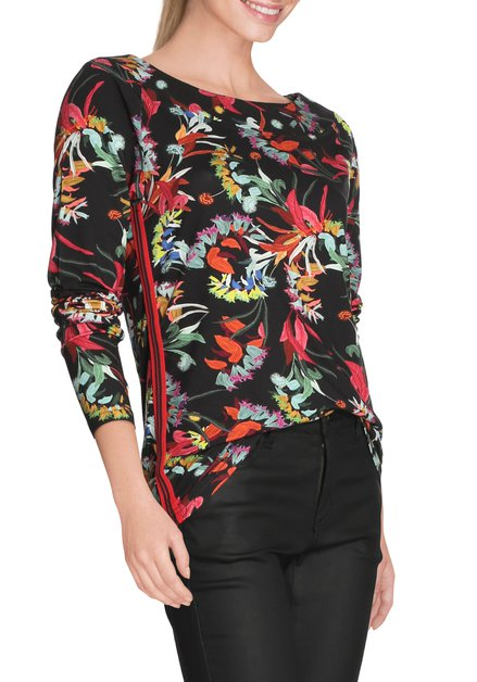 Zwart T-shirt met multicolor bloemenprint