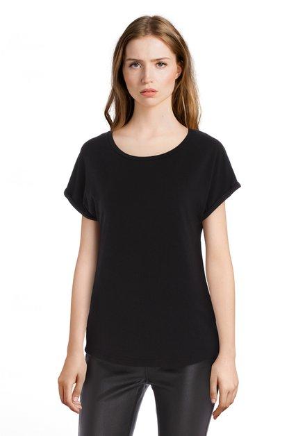 Zwart T-shirt met omslagboord