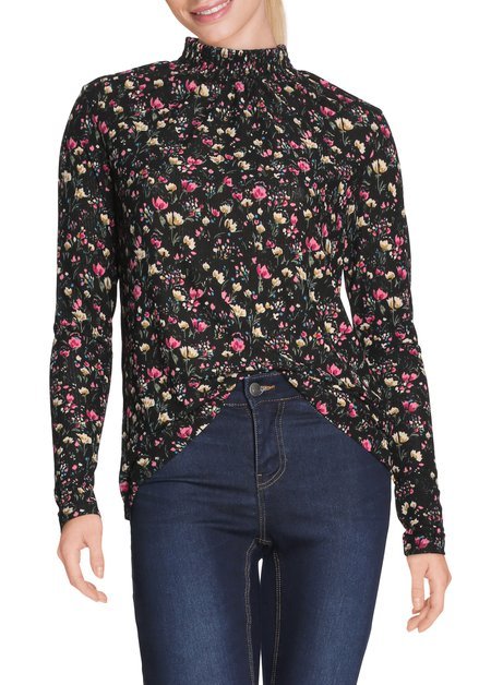 Zwart T-shirt met opstaand kraagje en bloemen