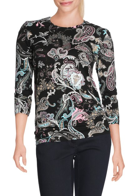 Zwart T-shirt met paisleyprint