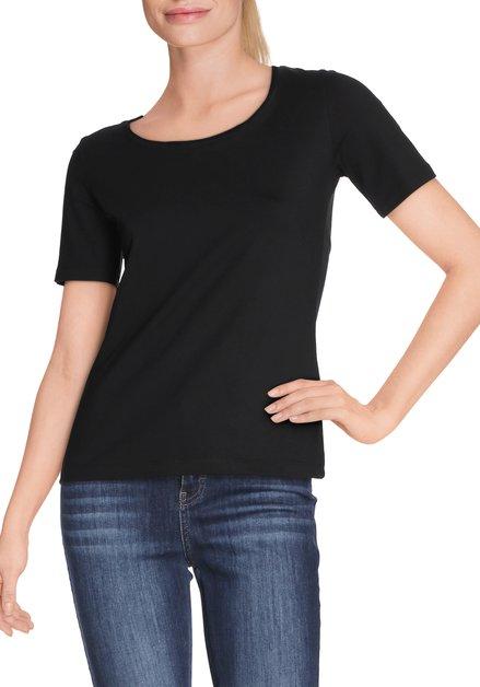 Zwart T-shirt met ronde hals in jersey