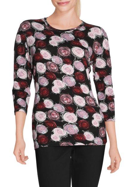 Zwart T-shirt met roze bollen