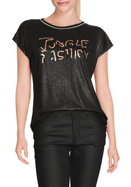Zwart T-shirt met strass en pailletten