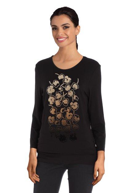 Zwart T-shirt met taupe print in reliëf